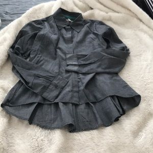 Grey adorable high low button up blouse.